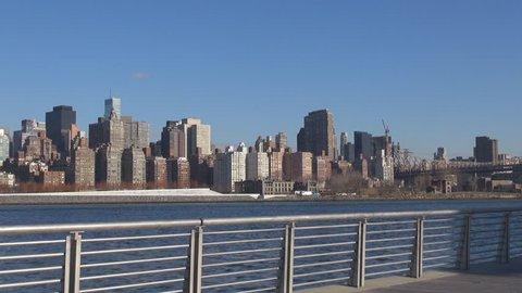 New York City skyline and Queensboro Bridge in sunny day, amazing cityscape icon
