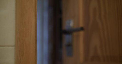 Door slamming closeup 4k