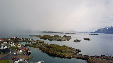 aerial view of small village in Norway, Svolvaer - Norwegian town aerial view, Fishing huts stand in rows in a village in the Arctic Lofoten Islands, fishing village on the lofoten islands Norway