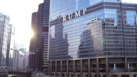 CHICAGO, IL - MARCH 18: Trump International Hotel and Tower downtown in Chicago, Illinois on March 18, 2018.