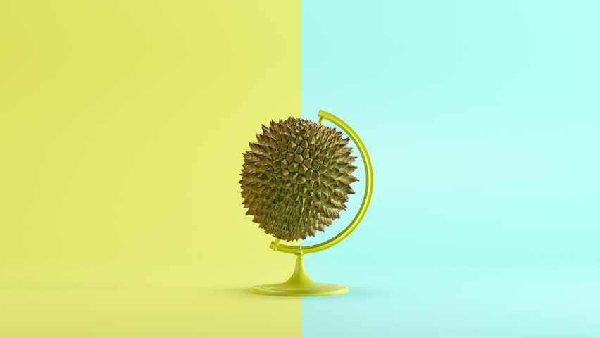Durian turn around Mimicry minimal idea concept on pastel yellow background. 3D illustration.