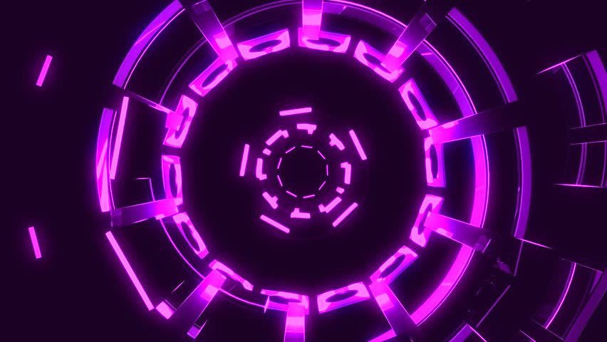 Flight in out through block grid neon lights abstract cyber tunnel motion graphics animation background loop new quality retro futuristic vintage style cool nice beautiful video footage #1009274657