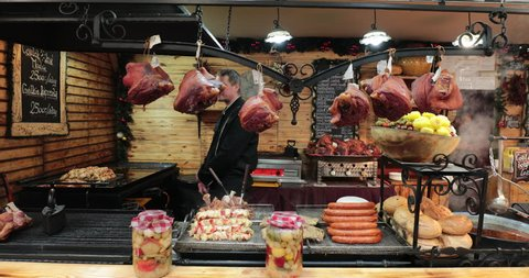 BUDAPEST, HUNGARY - JANUARY 2018 - Front of food market store butcher selling meat assortments