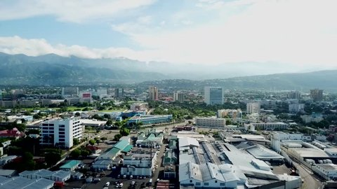 Beautiful Cinematic aerial view of Kingston Jamaica