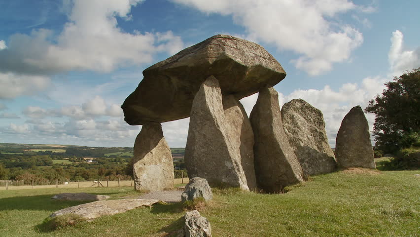Static shot of Pentre Ifan  neolithic stone dolmen burial chamber, circa 3,500 BC,  Nevern, Pembrokeshire, Wales,