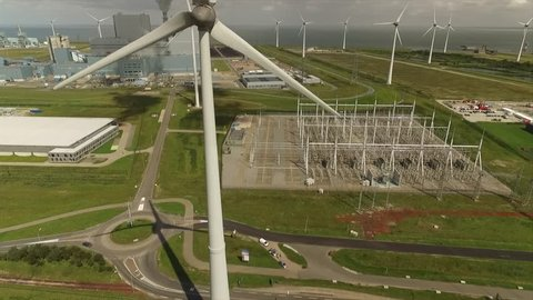 Power plant with wind turbines in the Netherlands
