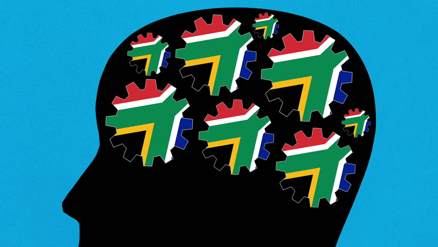 Turning south african flag gears in human head profile zooming out