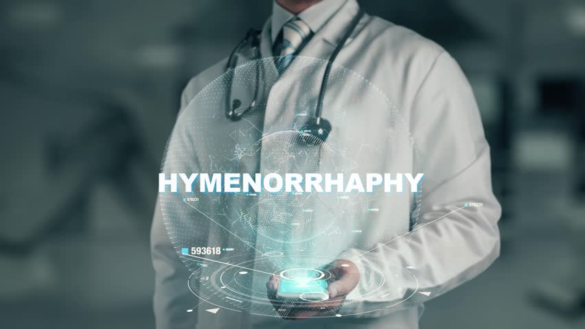Doctor holding in hand Hymenorrhaphy