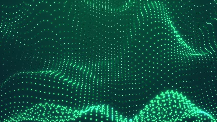 Abstract Green cg motion waving texture with glowing defocused particles. Cyber or technology digital landscape background. 1920p Full hd