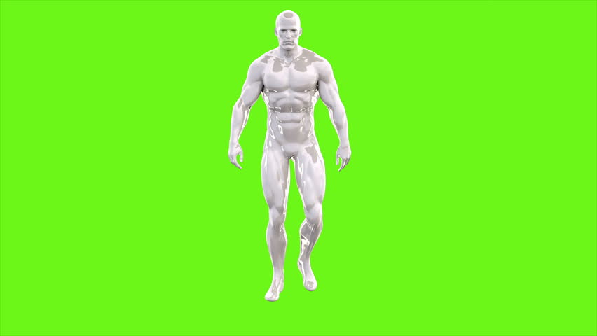 Animation of walking man on green screen. Loopable animation. 4k