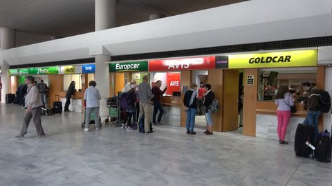 Lanzarote Spain 26 Mar 2018 Tourists Waiting At Car Rental Desks In Airport