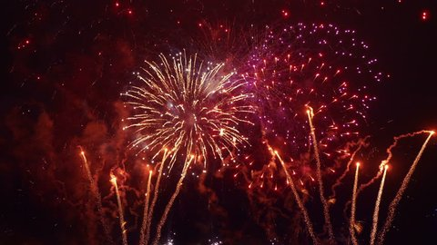 Professional video of fireworks show in 4K slow motion 60fps