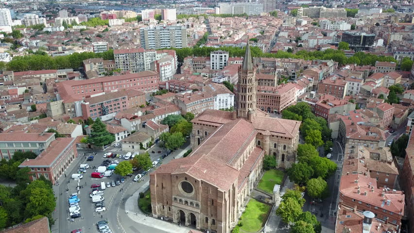 French Church, basilica Saint Sernin of Toulouse, drone view