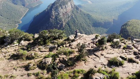 Flying over the vast Blyde River Canyon that lies in the Northern Drakensberg Mountains, part of the Panorama route in Mpumulanga, South Africa
