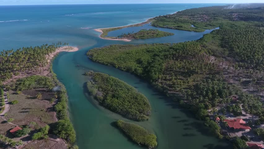 Aerial view of Tatuamunha River, a conservation area in Porto de Pedras, north coast of Alagoas, 104 km distant from Maceió capital