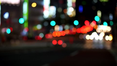 Automobiles crossing big cities (night view / blur expression) * Slow motion