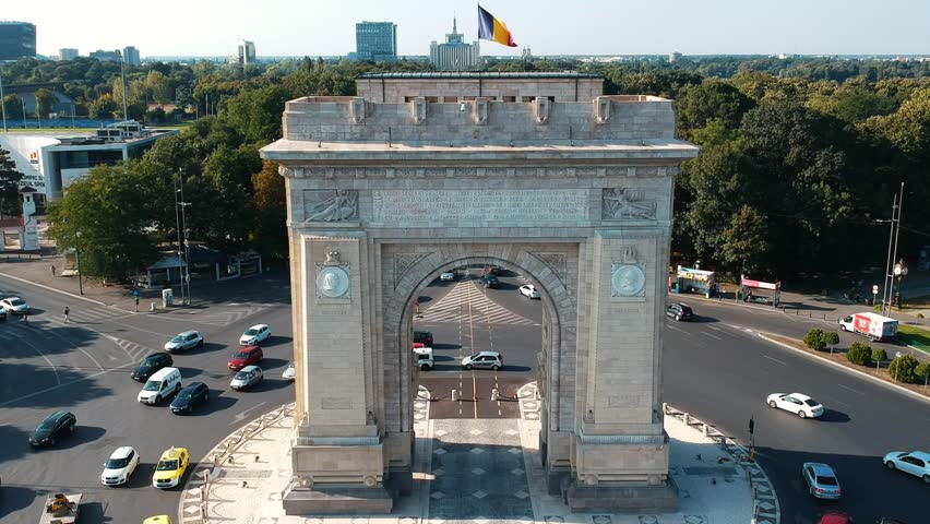 Aerial view over The Arch of Triumph, Bucharest