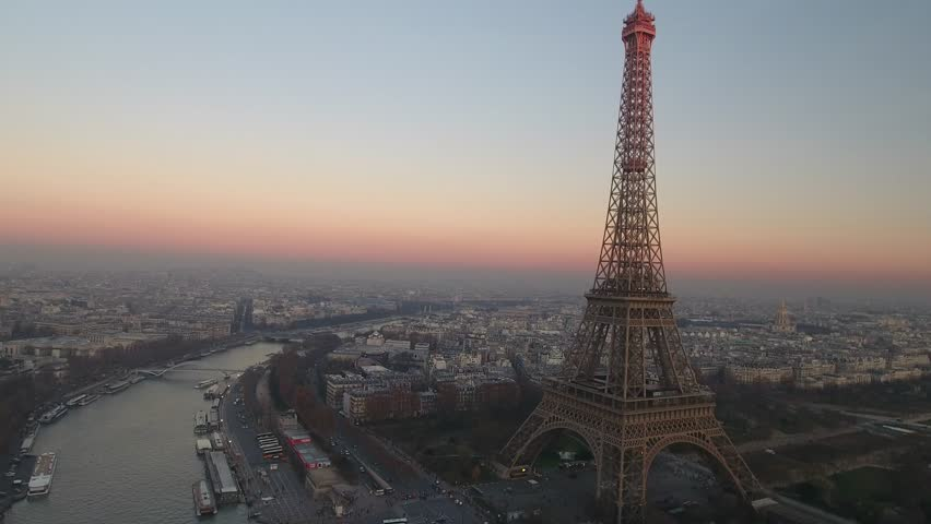 Aerial view over Paris and Tour Eiffel | Shutterstock HD Video #1009501127