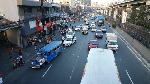 Traffic jam in the street of Manila, Philipinnes