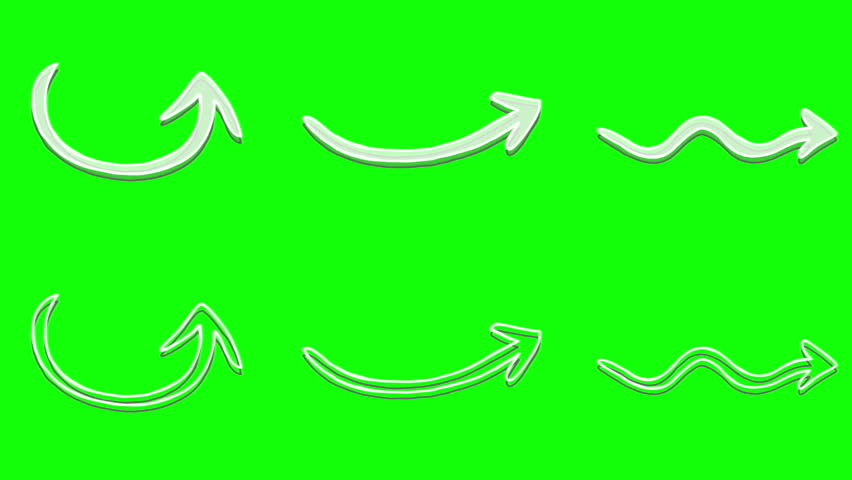 Arrows pack at green screen background. 6 white and transparent animated hand drawn style arrows elements chroma key.