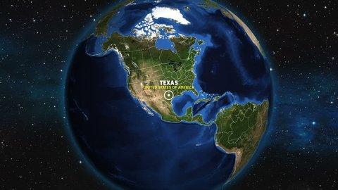 TEXAS Map USA - Earth Zoom