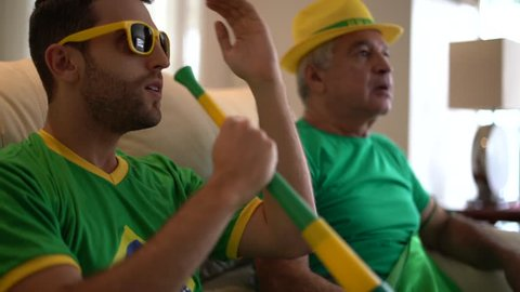 Father and Son Celebrating Brazil Victory
