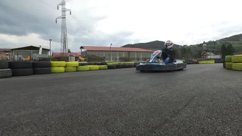 Kart racing or karting is a variant of open-wheel motorsport with small, open, four-wheeled vehicles called karts, go-karts. Footage of track and racing with karts.