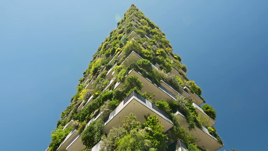 Modern ecological building with vertical gardens | Shutterstock HD Video #1009581317