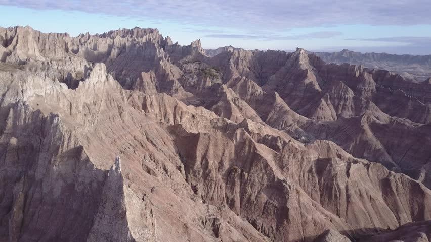 Badlands Badlands National Park Spring Topography Erosion Gullies Canyons Disected Landform Pan Aerial