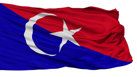 Johor Bahru Johor flag, city of Malaysia, realistic animation isolated on white - 10 seconds long (alpha channel is included)