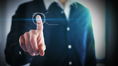 Person unlocking devices with fingerprint scan using biometrics security, access granted concept with digital interface, businessman digital animation of verafication authentication login to system AI