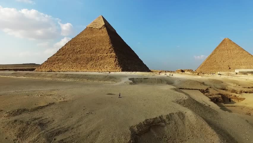 Aerial landscape of egypt pyramid. historical building.