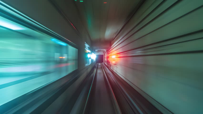 4K.Time lapse Subway tunnel fast speed | Shutterstock HD Video #1009676297