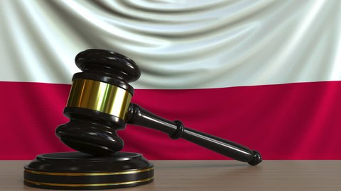 Judge's gavel and block against the flag of Poland. Polish court conceptual animation