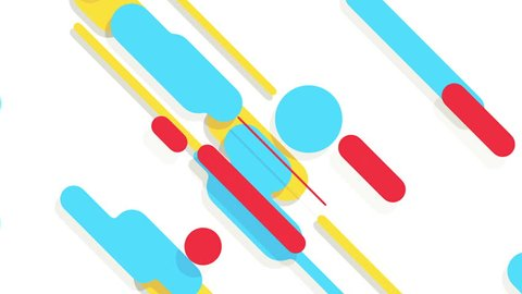 Abstract background in flat style with animation of rounded rectangles, circles and lines with light shadow or neon glow on colorful backdrop. Animation of seamless loop.