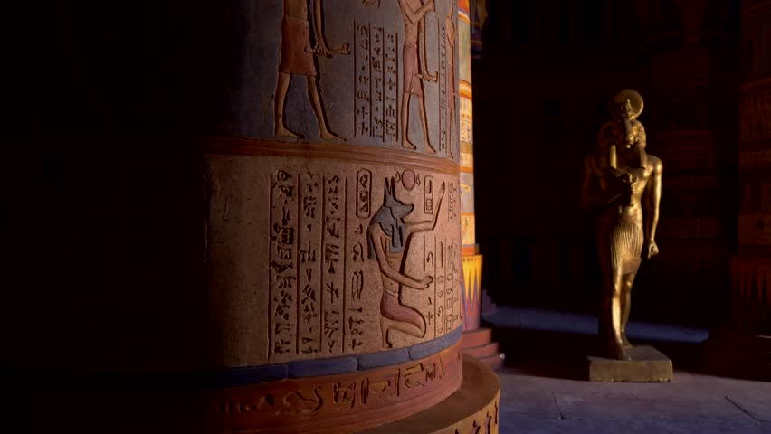 Egyptian temple. Professional Steadicam Shot.