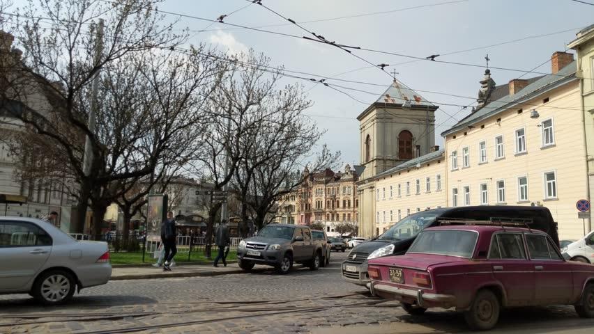 Lviv city architecture in the spring season