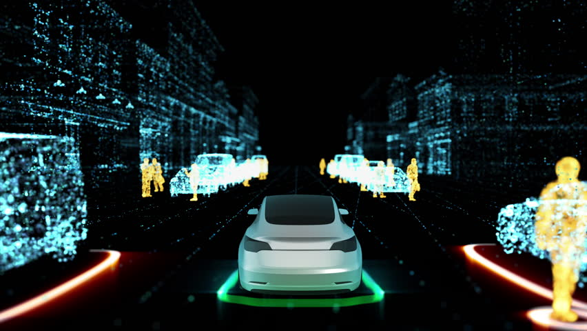 4K animation, 3D representation, New technology that involves driverless car and lidar radar mapping the environment. Laser light pulses to scan the environment, as opposed to radio or sound waves.