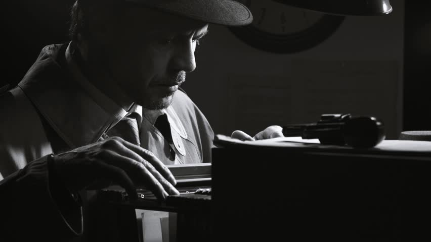 Investigator spy searching confidential files in the filing cabinet at night, retro noir film character