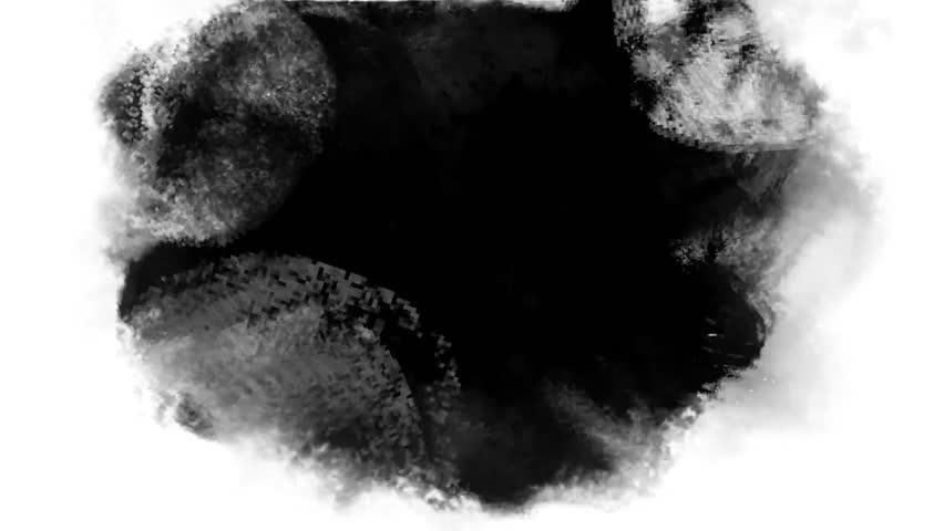 Black ink, paint, grunge cartoon animation background visual texture. Frame by frame, sketch,  vintage multiplication loop. Design for titles, 2d films