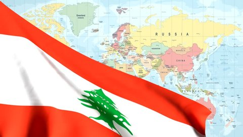 The waving flag of Lebanon opens up the view to the position of Lebanon on a colored world map