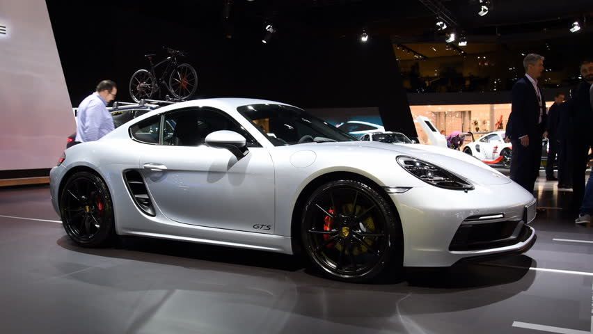 Porsche 718 Cayman GTS sports car at the 2018 Brussels motor show. The GTS is the more powerful version of the Porsche Cayman.