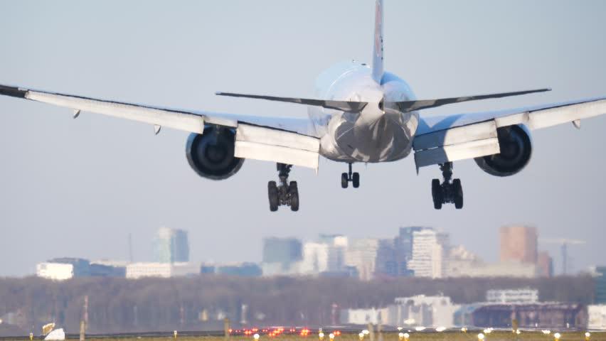 4K Passenger airplane landing