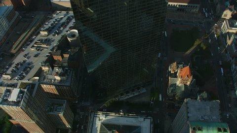 Aerial Waterfront view of downtown Financial district city buildings John Hancock Tower skyscraper Berkeley Building Boston Massachusetts USA