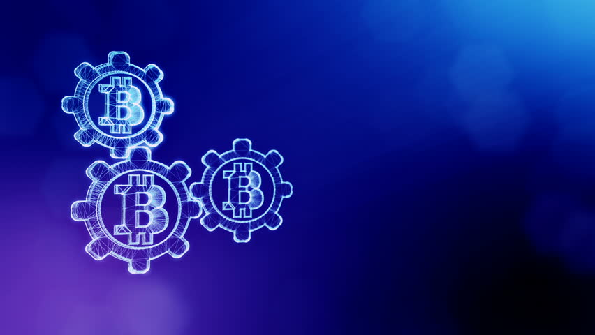 Sign of bitcoin and gears. Financial background made of glow particles as vitrtual hologram. Shiny 3D loop animation with depth of field, bokeh and copy space. Blue version 3 | Shutterstock HD Video #1009806407
