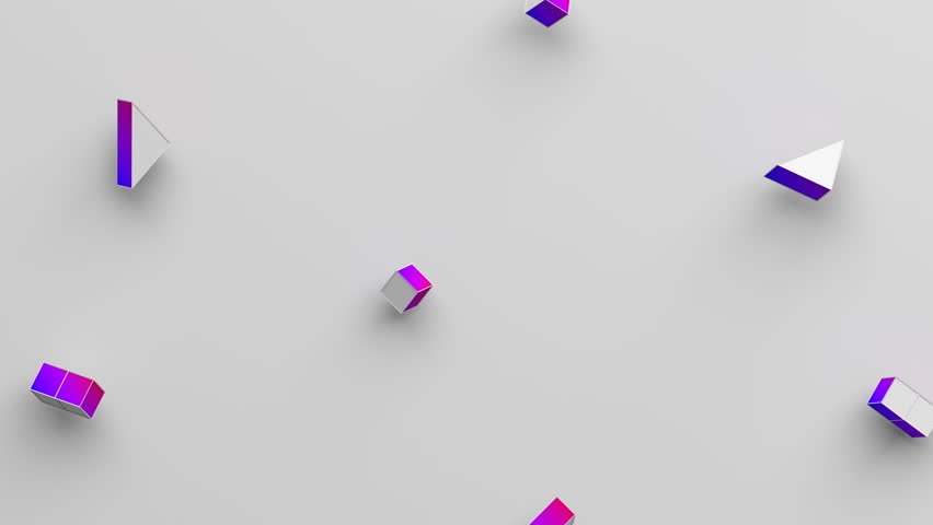 Abstract 3d rendering of geometric shapes. Computer generated loop animation. Modern background with cubes and triangles. Seamless motion design for poster, cover, branding, banner, placard. 4k UHD