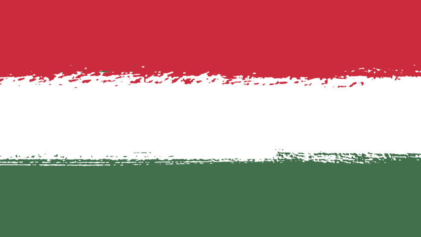Flag of Hungary - Drawing Hungarian Flag by Brush Strokes