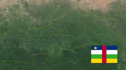 Central African Republic with flag. 3d earth in space - zoom in Central African Republic outer, created using ultra high res NASA