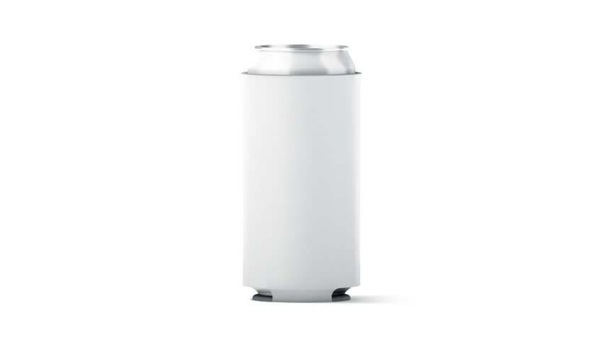 Blank big white collapsible beer can koozie mock up isolated, clipping mask, 3d rendering. Empty neoprene cooler 500ml mockup for tin beverage. Drinkware hugger design template. Fizzy pop sleeve.   Shutterstock HD Video #1009877237