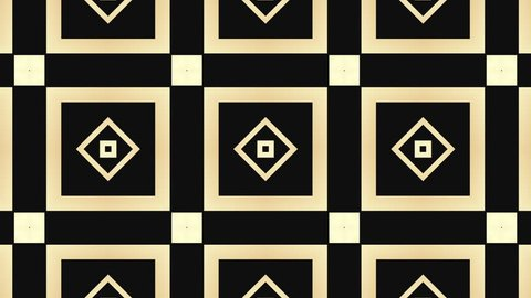 Art Deco rotating background. Kaleidoscopic video loop. Golden geometric shapes. Luxury background concept.
